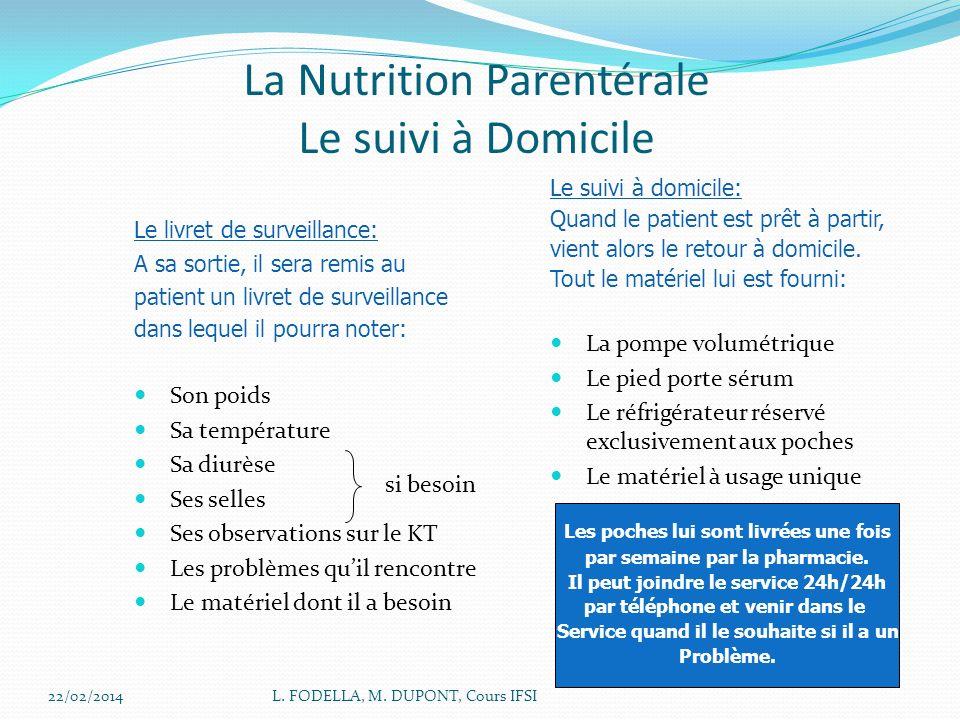 22/02/2014L. FODELLA, M. DUPONT, Cours IFSI La Nutrition Parentérale Le suivi à Domicile Le livret de surveillance: A sa sortie, il sera remis au pati