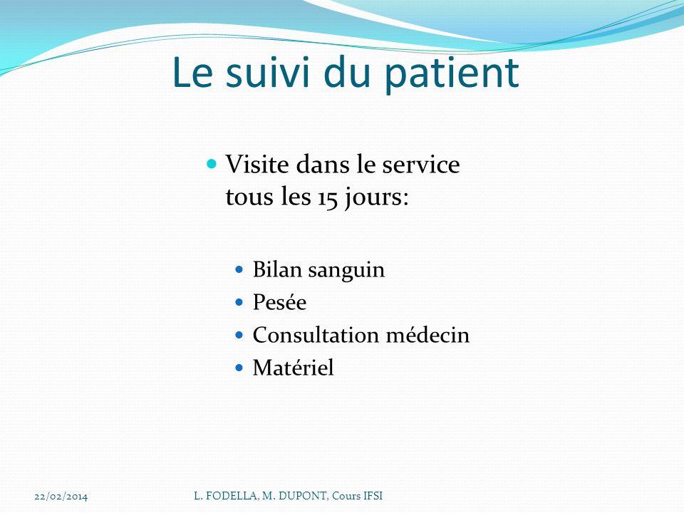 Le suivi du patient Visite dans le service tous les 15 jours: Bilan sanguin Pesée Consultation médecin Matériel 22/02/2014L. FODELLA, M. DUPONT, Cours