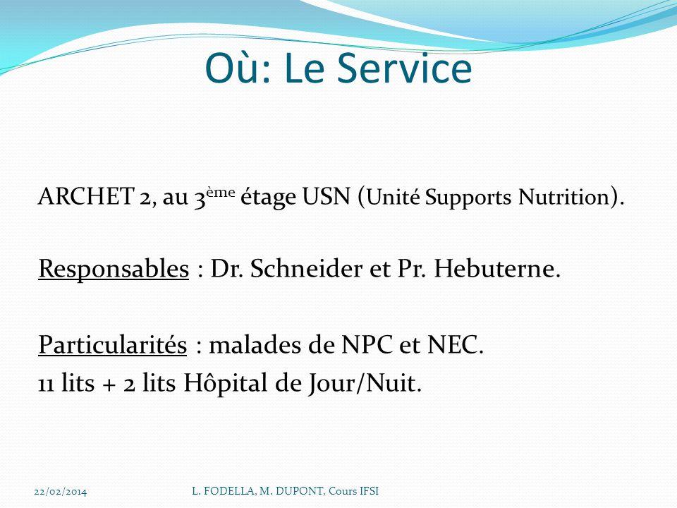 22/02/2014L. FODELLA, M. DUPONT, Cours IFSI Où: Le Service ARCHET 2, au 3 ème étage USN ( Unité Supports Nutrition ). Responsables : Dr. Schneider et