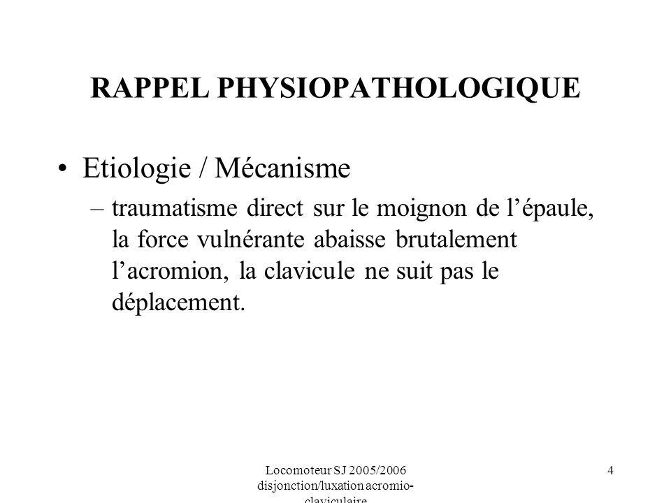 4 RAPPEL PHYSIOPATHOLOGIQUE Etiologie / Mécanisme –traumatisme direct sur le moignon de lépaule, la force vulnérante abaisse brutalement lacromion, la