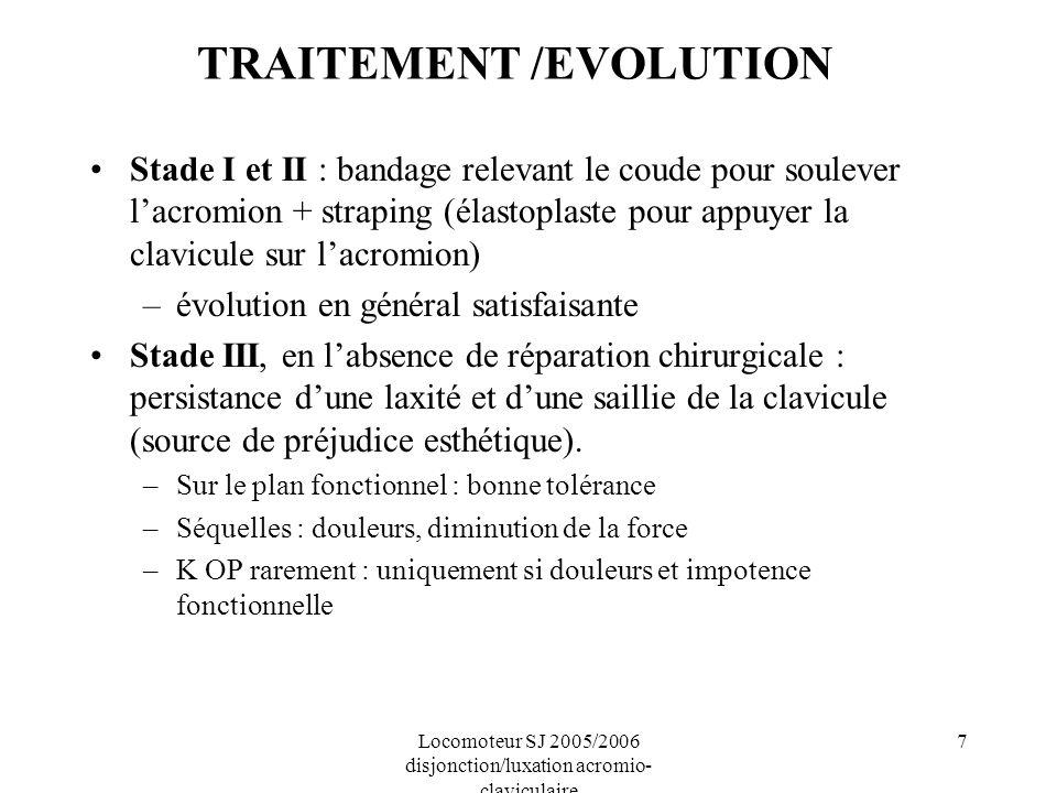 Locomoteur SJ 2005/2006 disjonction/luxation acromio- claviculaire 7 TRAITEMENT /EVOLUTION Stade I et II : bandage relevant le coude pour soulever lac