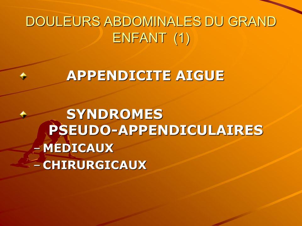 DOULEURS ABDOMINALES DU GRAND ENFANT (1) APPENDICITE AIGUE APPENDICITE AIGUE SYNDROMES PSEUDO-APPENDICULAIRES SYNDROMES PSEUDO-APPENDICULAIRES –MEDICA