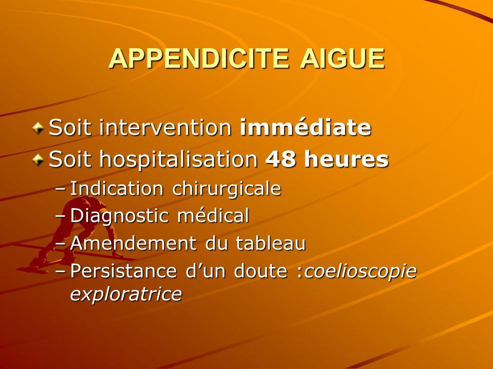 APPENDICITE AIGUE Soit intervention immédiate Soit hospitalisation 48 heures –Indication chirurgicale –Diagnostic médical –Amendement du tableau –Pers
