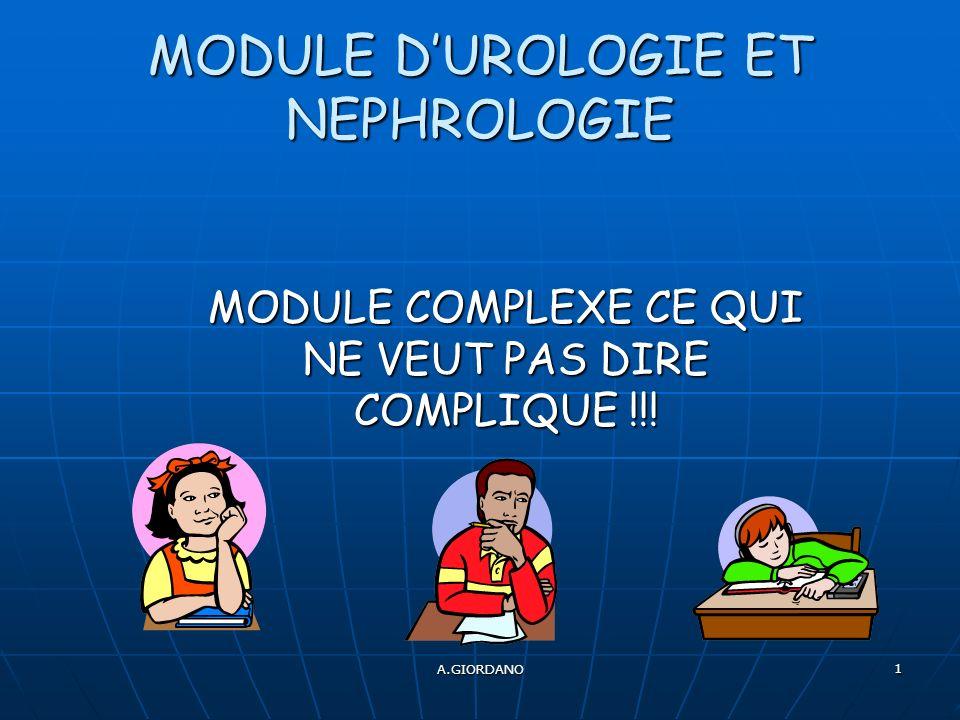 A.GIORDANO 1 MODULE DUROLOGIE ET NEPHROLOGIE MODULE COMPLEXE CE QUI NE VEUT PAS DIRE COMPLIQUE !!!