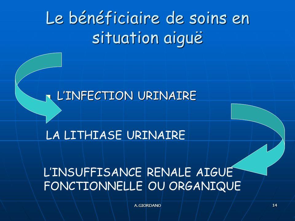 A.GIORDANO 14 Le bénéficiaire de soins en situation aiguë LINFECTION URINAIRE LINFECTION URINAIRE LINSUFFISANCE RENALE AIGUE FONCTIONNELLE OU ORGANIQU