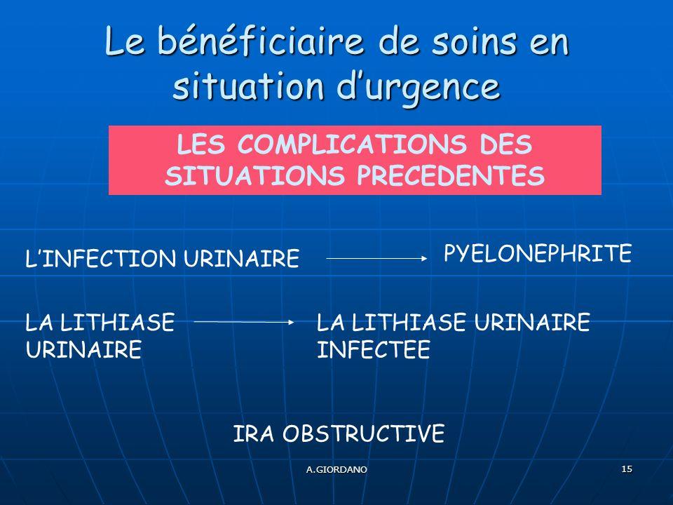 A.GIORDANO 15 Le bénéficiaire de soins en situation durgence LES COMPLICATIONS DES SITUATIONS PRECEDENTES LINFECTION URINAIRE PYELONEPHRITE LA LITHIASE URINAIRE LA LITHIASE URINAIRE INFECTEE IRA OBSTRUCTIVE