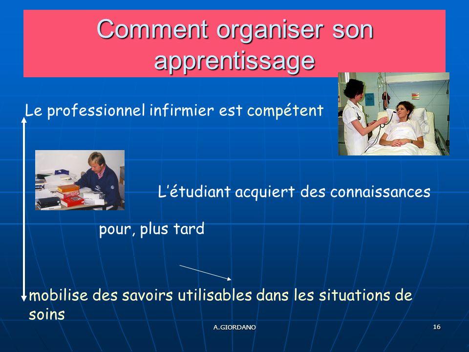 A.GIORDANO 16 Comment organiser son apprentissage Le professionnel infirmier est compétent mobilise des savoirs utilisables dans les situations de soins Létudiant acquiert des connaissances pour, plus tard