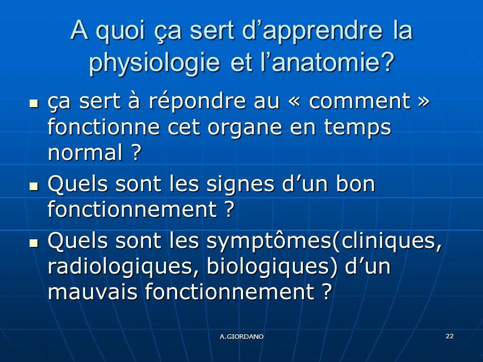 A.GIORDANO 22 A quoi ça sert dapprendre la physiologie et lanatomie.
