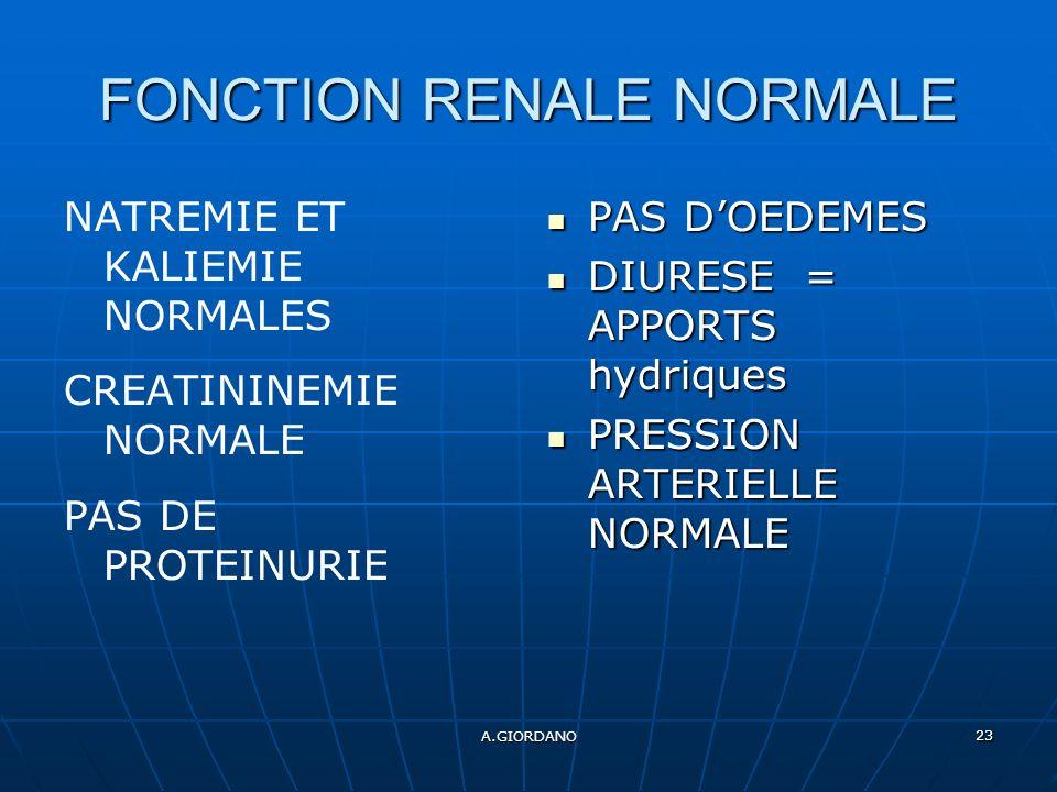 A.GIORDANO 23 FONCTION RENALE NORMALE NATREMIE ET KALIEMIE NORMALES CREATININEMIE NORMALE PAS DE PROTEINURIE PAS DOEDEMES PAS DOEDEMES DIURESE = APPORTS hydriques DIURESE = APPORTS hydriques PRESSION ARTERIELLE NORMALE PRESSION ARTERIELLE NORMALE