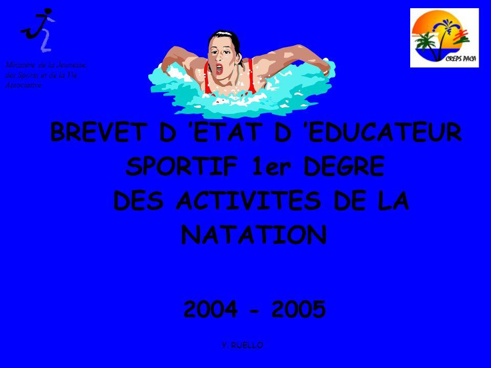 Y. RUELLO BREVET D ETAT D EDUCATEUR SPORTIF 1er DEGRE DES ACTIVITES DE LA NATATION 2004 - 2005 Ministère de la Jeunesse, des Sports et de la Vie Assoc
