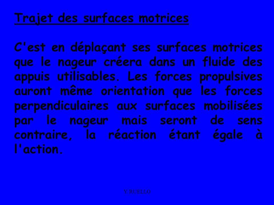 Y. RUELLO Trajet des surfaces motrices C'est en déplaçant ses surfaces motrices que le nageur créera dans un fluide des appuis utilisables. Les forces