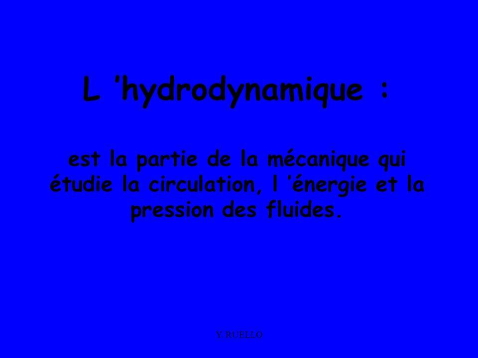 Y. RUELLO L hydrodynamique : est la partie de la mécanique qui étudie la circulation, l énergie et la pression des fluides.