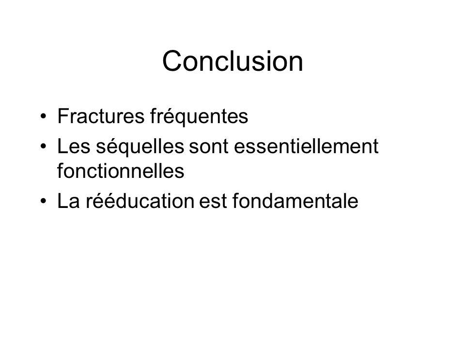 Conclusion Fractures fréquentes Les séquelles sont essentiellement fonctionnelles La rééducation est fondamentale