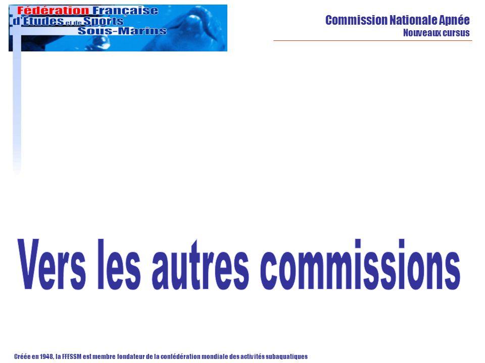 Commission Nationale Apnée Nouveaux cursus Créée en 1948, la FFESSM est membre fondateur de la confédération mondiale des activités subaquatiques