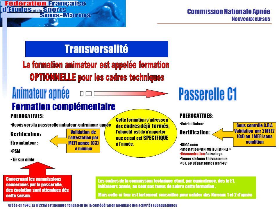 Commission Nationale Apnée Nouveaux cursus Créée en 1948, la FFESSM est membre fondateur de la confédération mondiale des activités subaquatiques Tran