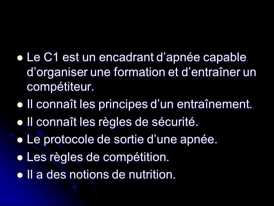 Le C1 est un encadrant dapnée capable dorganiser une formation et dentraîner un compétiteur. Le C1 est un encadrant dapnée capable dorganiser une form