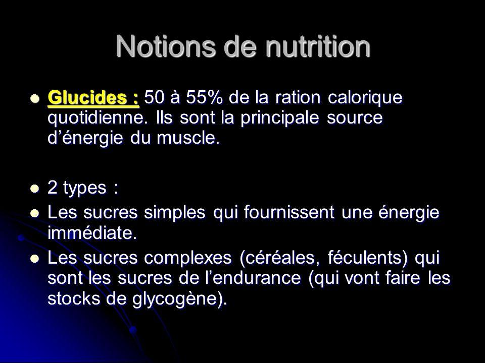 Notions de nutrition Glucides : 50 à 55% de la ration calorique quotidienne. Ils sont la principale source dénergie du muscle. Glucides : 50 à 55% de