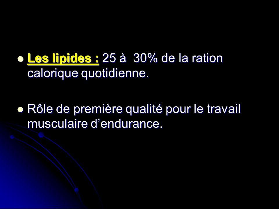 Les lipides : 25 à 30% de la ration calorique quotidienne. Les lipides : 25 à 30% de la ration calorique quotidienne. Rôle de première qualité pour le