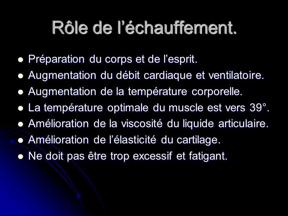 Rôle de léchauffement. Préparation du corps et de lesprit. Préparation du corps et de lesprit. Augmentation du débit cardiaque et ventilatoire. Augmen