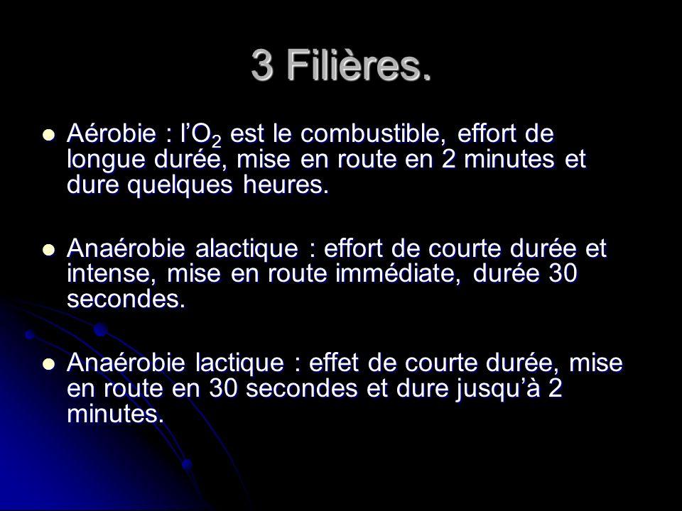 3 Filières. Aérobie : lO 2 est le combustible, effort de longue durée, mise en route en 2 minutes et dure quelques heures. Aérobie : lO 2 est le combu