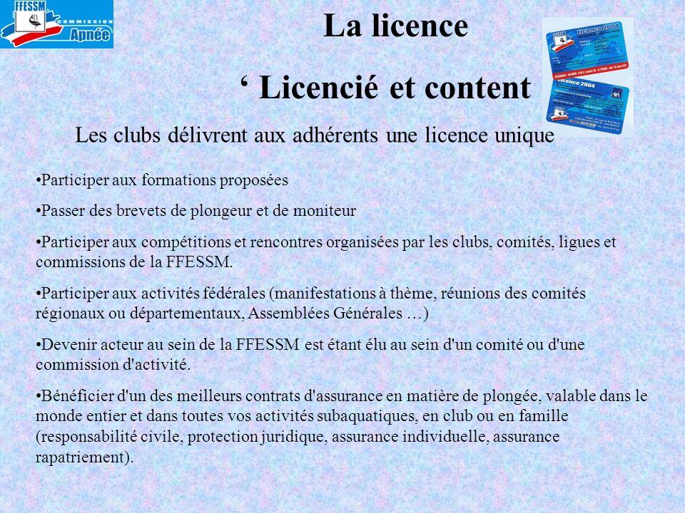 La licence Licencié et content Participer aux formations proposées Passer des brevets de plongeur et de moniteur Participer aux compétitions et rencon