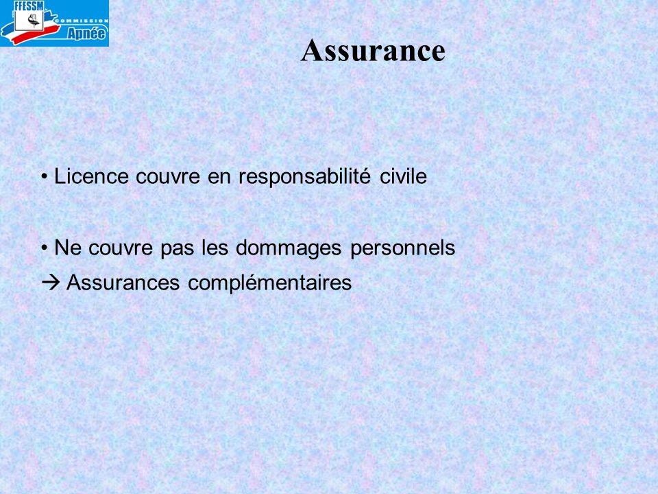 Assurance Licence couvre en responsabilité civile Ne couvre pas les dommages personnels Assurances complémentaires