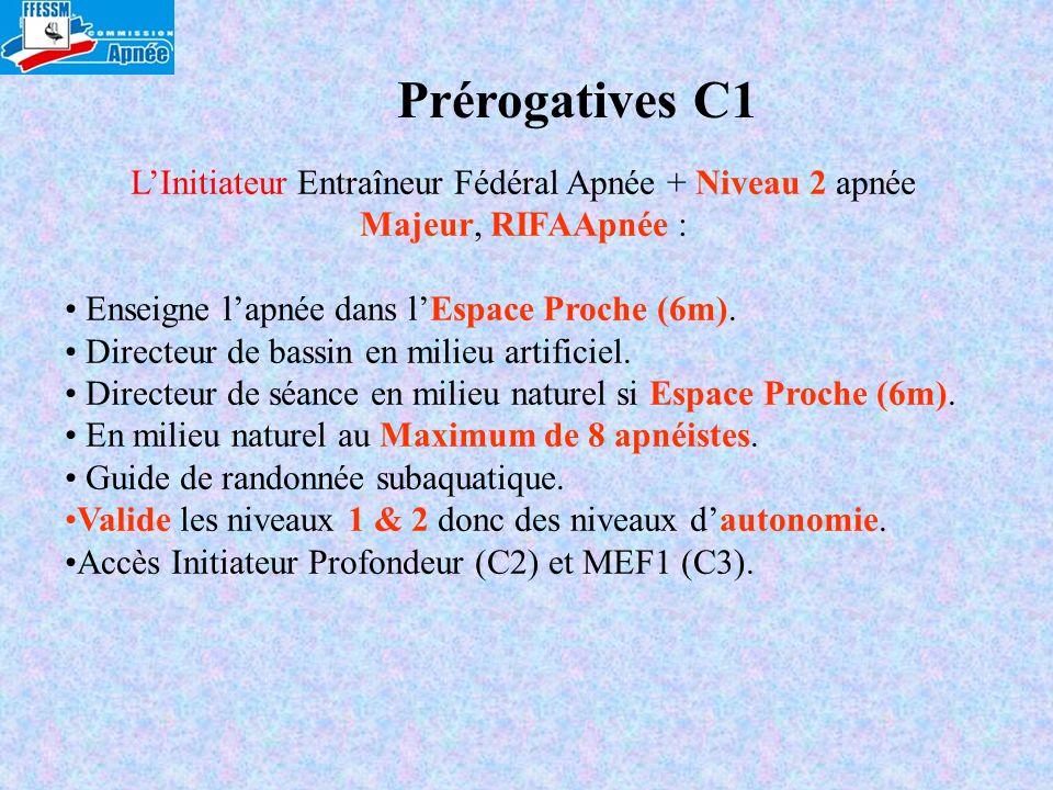Prérogatives C1 LInitiateur Entraîneur Fédéral Apnée + Niveau 2 apnée Majeur, RIFAApnée : Enseigne lapnée dans lEspace Proche (6m). Directeur de bassi