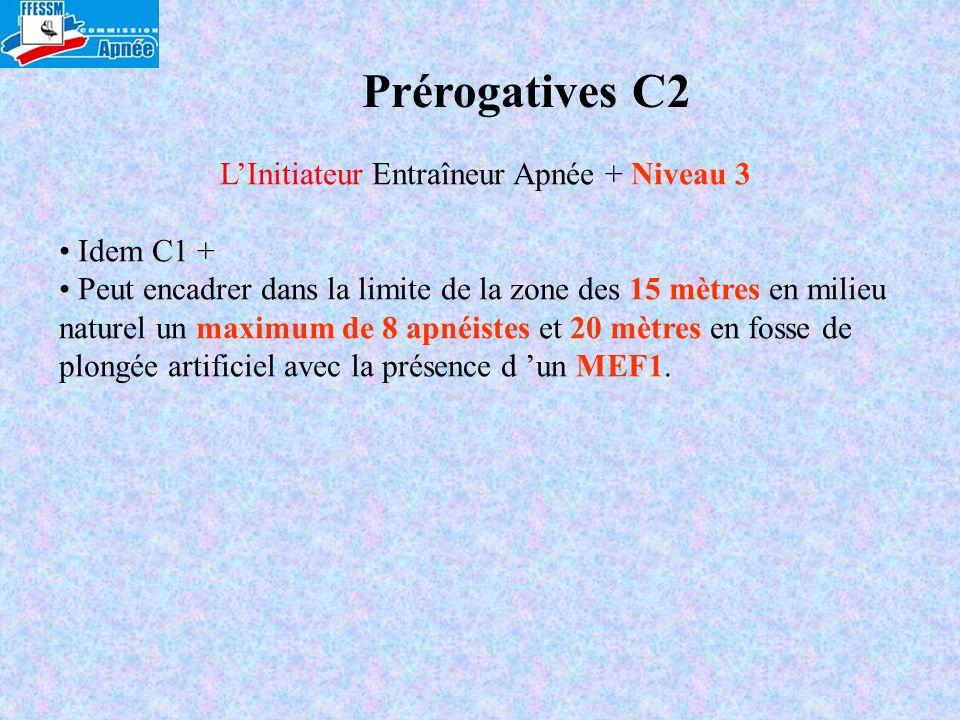 Prérogatives C2 LInitiateur Entraîneur Apnée + Niveau 3 Idem C1 + Peut encadrer dans la limite de la zone des 15 mètres en milieu naturel un maximum d