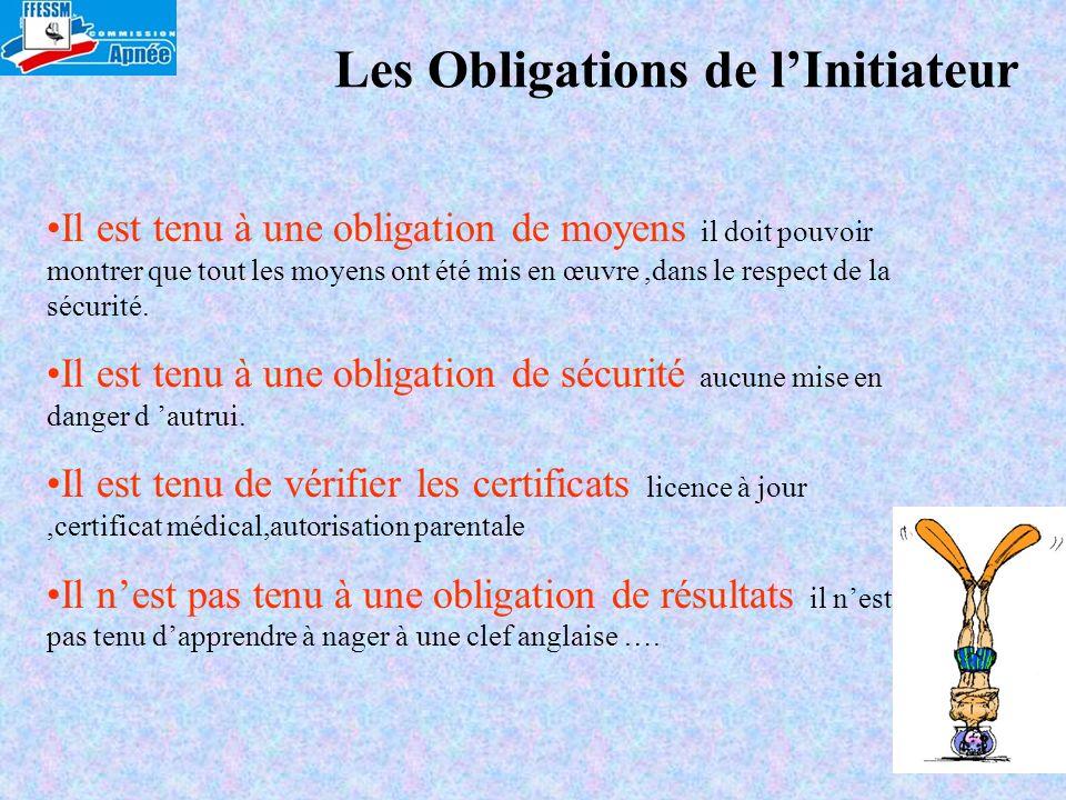 Les Obligations de lInitiateur Il est tenu à une obligation de moyens il doit pouvoir montrer que tout les moyens ont été mis en œuvre,dans le respect