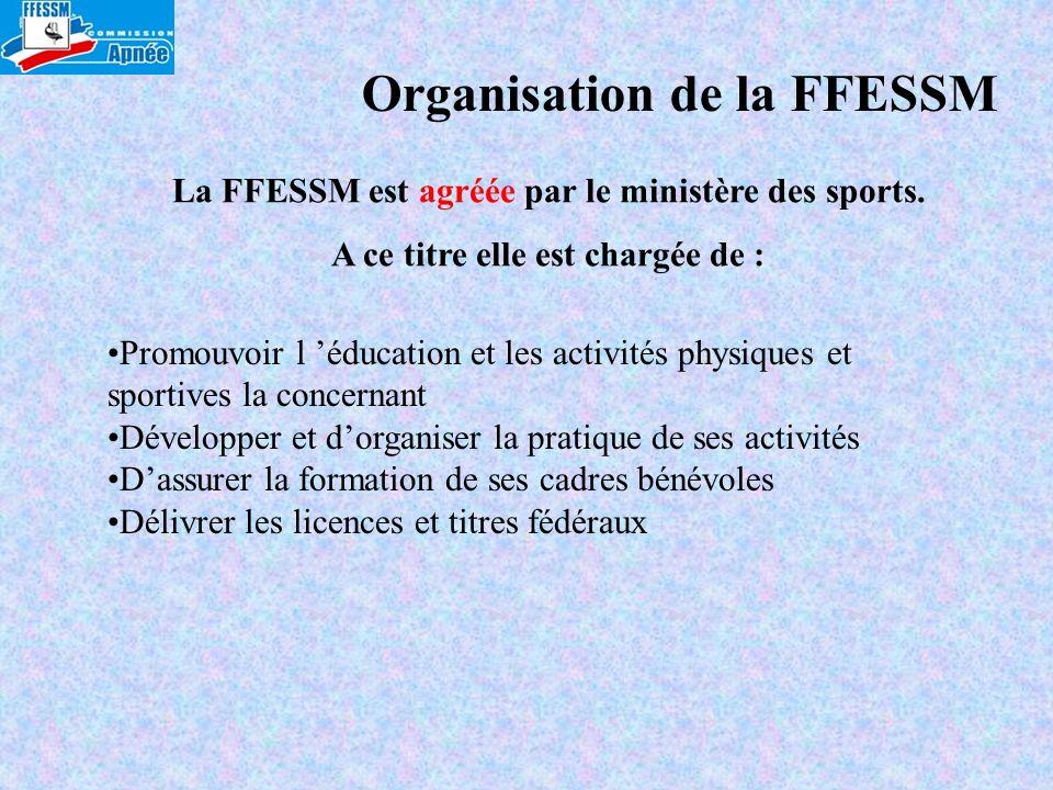 La FFESSM est agréée par le ministère des sports. A ce titre elle est chargée de : Promouvoir l éducation et les activités physiques et sportives la c