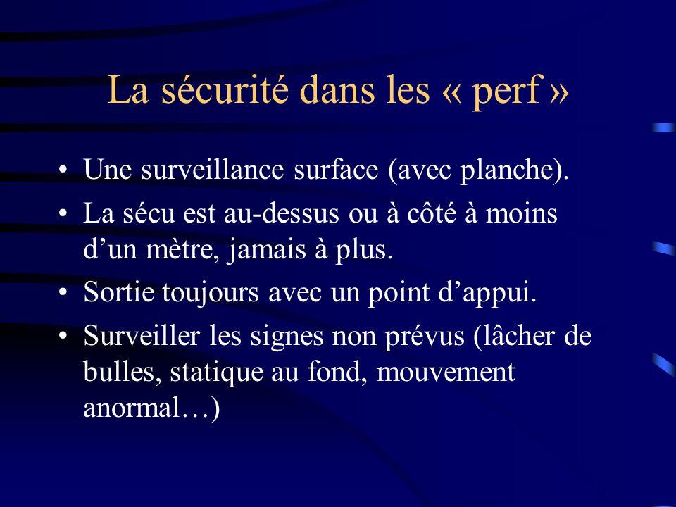La sécurité dans les « perf » Une surveillance surface (avec planche).