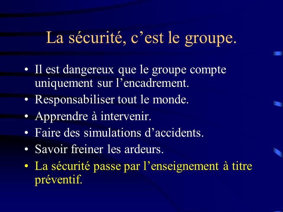La sécurité, cest le groupe. Il est dangereux que le groupe compte uniquement sur lencadrement.