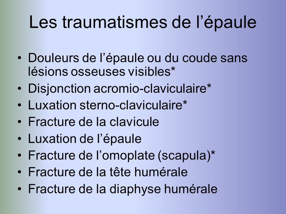 Douleurs de lépaule ou du coude sans lésions osseuses visibles* Disjonction acromio-claviculaire* Luxation sterno-claviculaire* Fracture de la clavicu