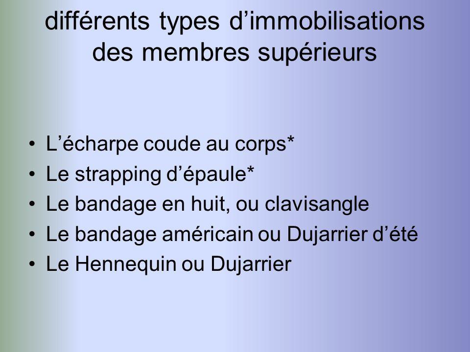 différents types dimmobilisations des membres supérieurs Lécharpe coude au corps* Le strapping dépaule* Le bandage en huit, ou clavisangle Le bandage