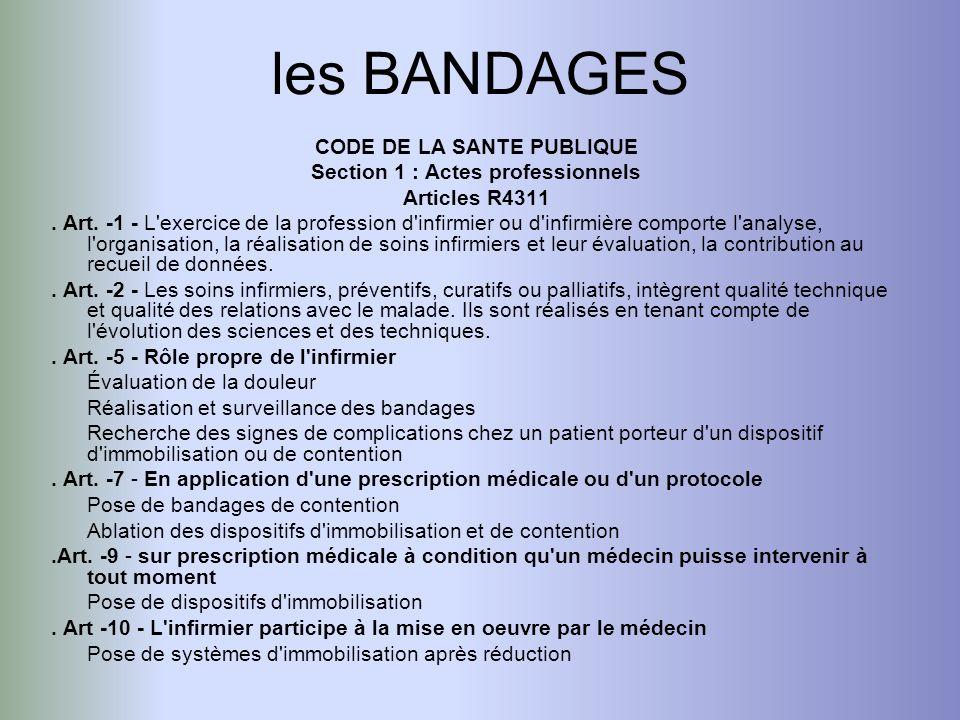 les BANDAGES CODE DE LA SANTE PUBLIQUE Section 1 : Actes professionnels Articles R4311. Art. -1 - L'exercice de la profession d'infirmier ou d'infirmi