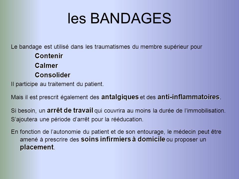 Le bandage est utilisé dans les traumatismes du membre supérieur pourContenirCalmerConsolider Il participe au traitement du patient. antalgiquesanti-i