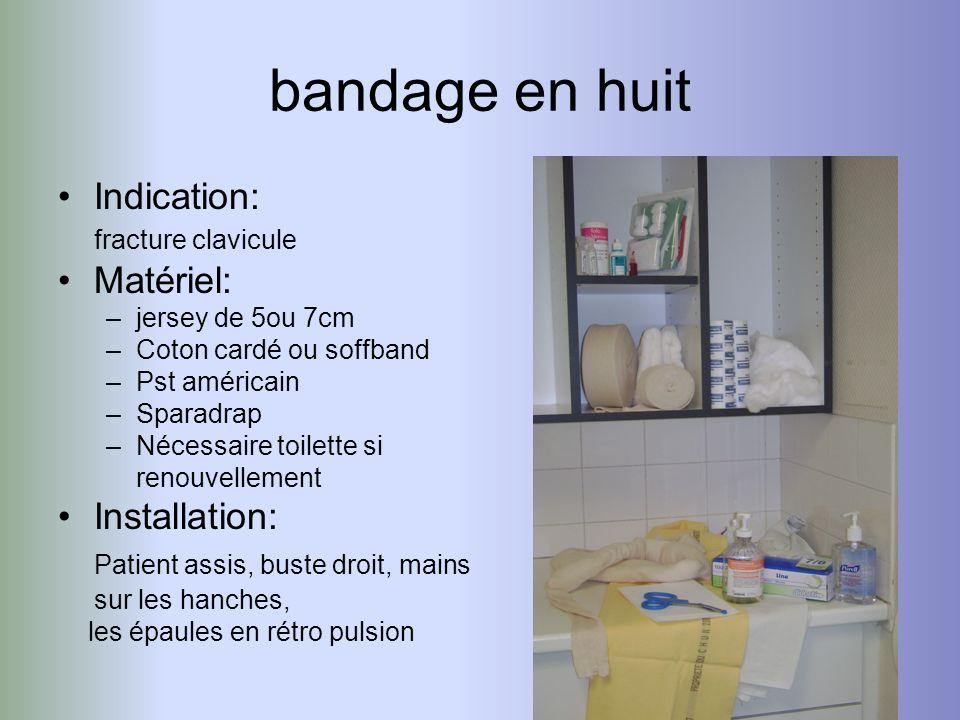 bandage en huit Indication: fracture clavicule Matériel: –jersey de 5ou 7cm –Coton cardé ou soffband –Pst américain –Sparadrap –Nécessaire toilette si
