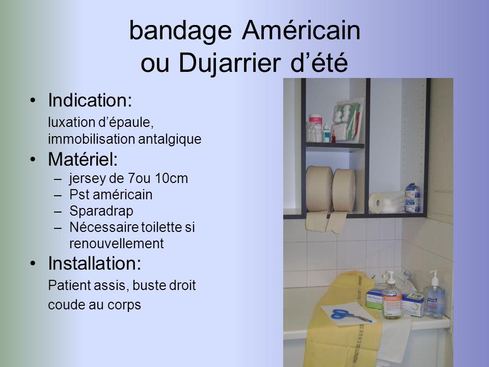 bandage Américain ou Dujarrier dété Indication: luxation dépaule, immobilisation antalgique Matériel: –jersey de 7ou 10cm –Pst américain –Sparadrap –N