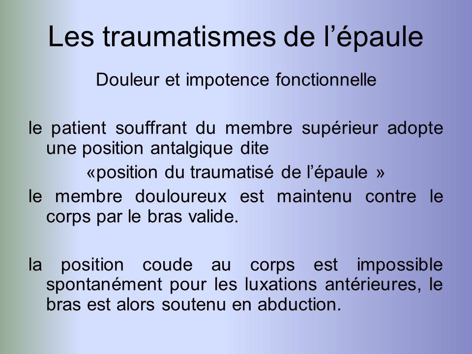 Douleur et impotence fonctionnelle le patient souffrant du membre supérieur adopte une position antalgique dite «position du traumatisé de lépaule » l