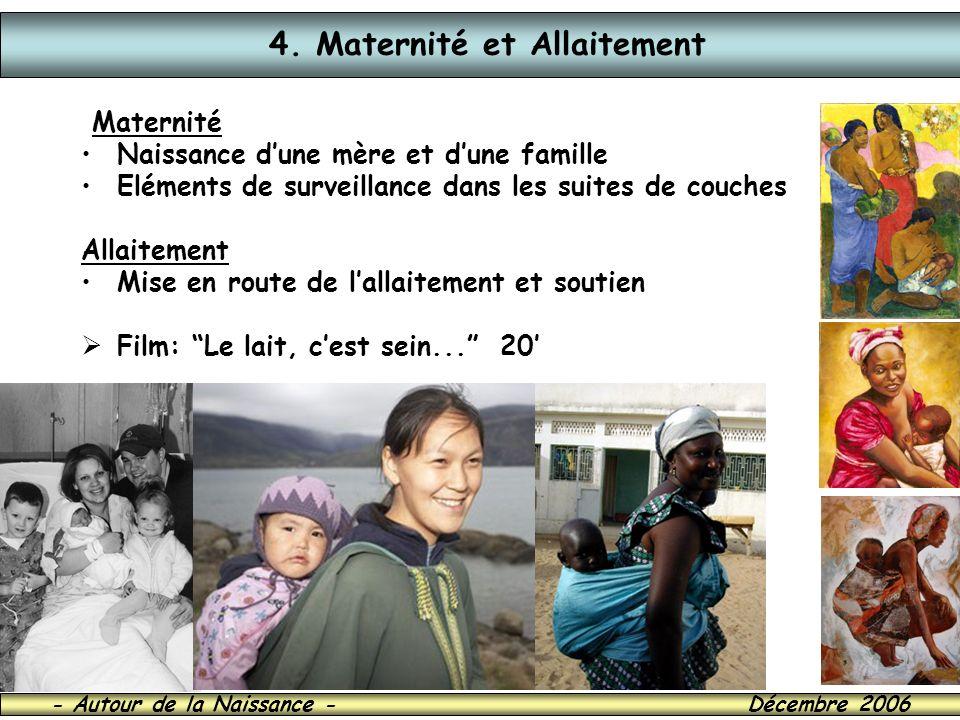 - Autour de la Naissance - Décembre 2006 4. Maternité et Allaitement Maternité Naissance dune mère et dune famille Eléments de surveillance dans les s