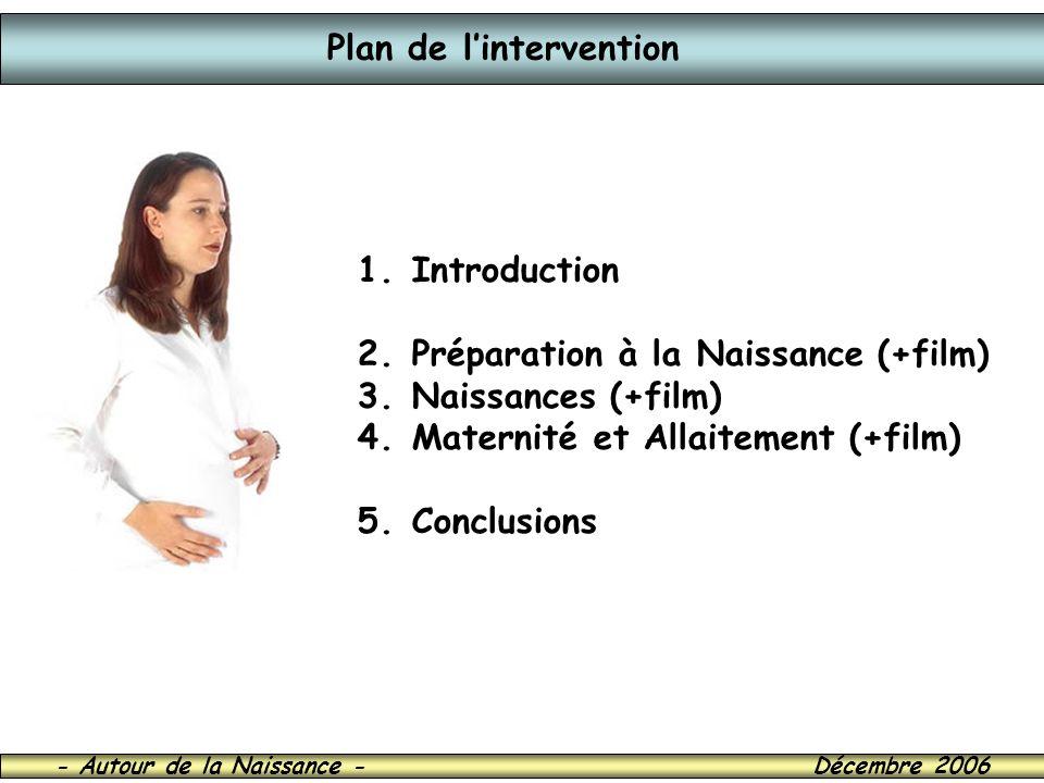 - Autour de la Naissance - Décembre 2006 Plan de lintervention 1. Introduction 2. Préparation à la Naissance (+film) 3. Naissances (+film) 4. Maternit
