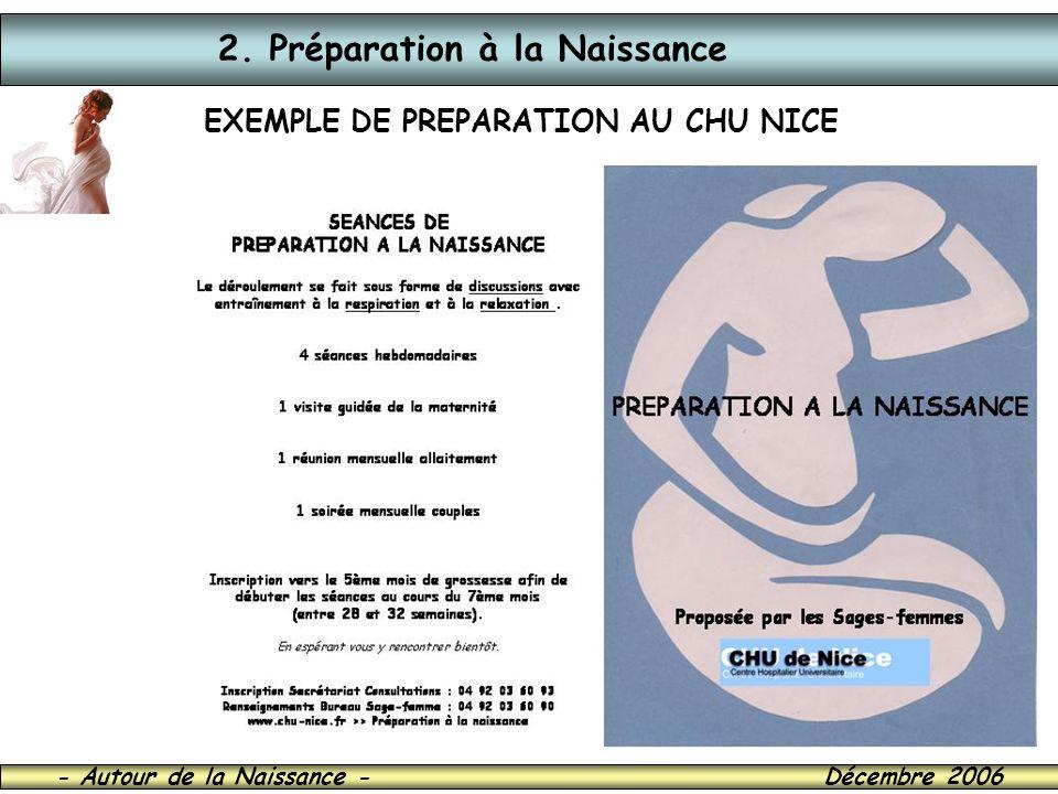 - Autour de la Naissance - Décembre 2006 2. Préparation à la Naissance EXEMPLE DE PREPARATION AU CHU NICE