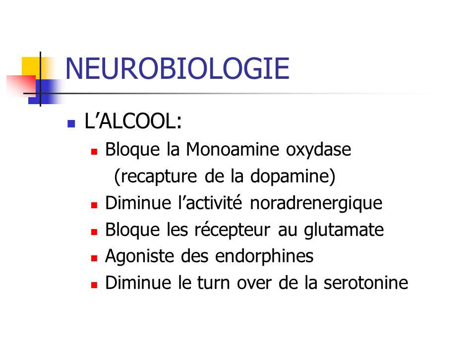 NEUROBIOLOGIE LALCOOL: Bloque la Monoamine oxydase (recapture de la dopamine) Diminue lactivité noradrenergique Bloque les récepteur au glutamate Agoniste des endorphines Diminue le turn over de la serotonine