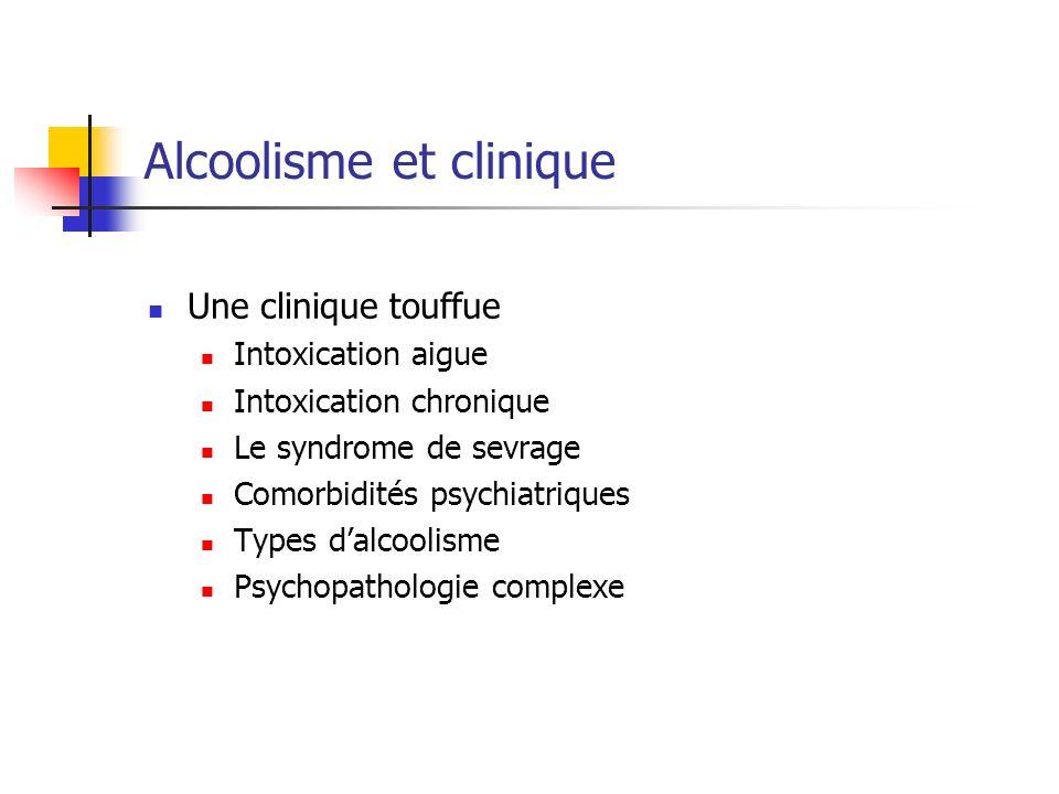Alcoolisme et clinique Une clinique touffue Intoxication aigue Intoxication chronique Le syndrome de sevrage Comorbidités psychiatriques Types dalcoolisme Psychopathologie complexe