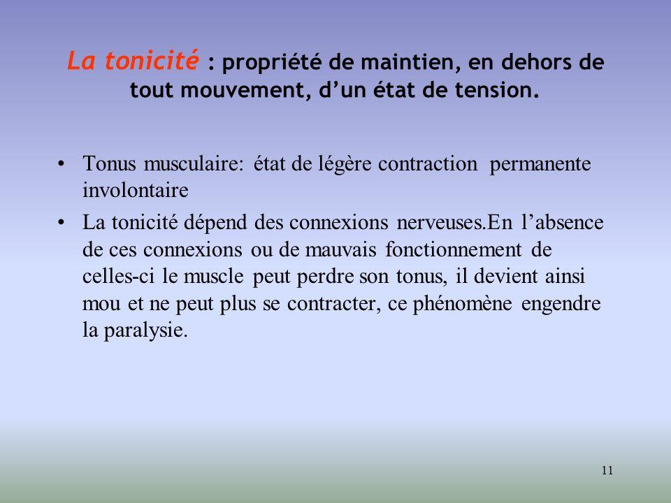 11 La tonicité : propriété de maintien, en dehors de tout mouvement, dun état de tension. Tonus musculaire: état de légère contraction permanente invo