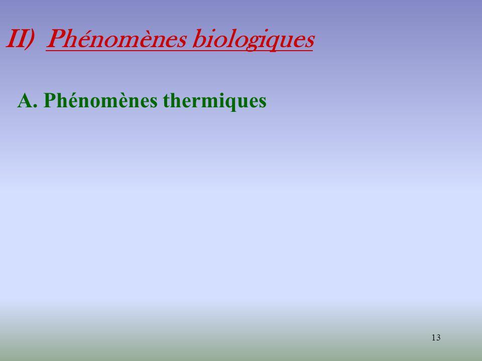 13 II) Phénomènes biologiques A. Phénomènes thermiques