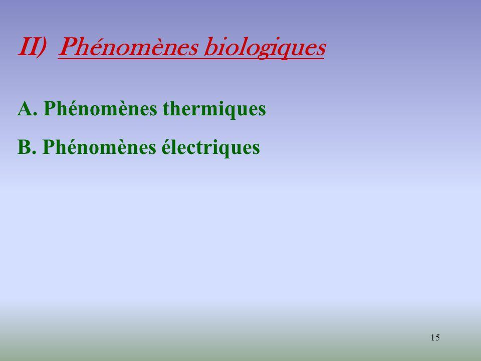 15 II) Phénomènes biologiques A. Phénomènes thermiques B. Phénomènes électriques