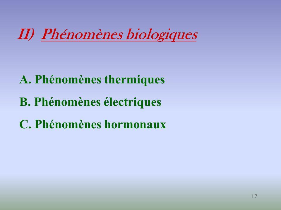 17 II) Phénomènes biologiques A. Phénomènes thermiques B. Phénomènes électriques C. Phénomènes hormonaux