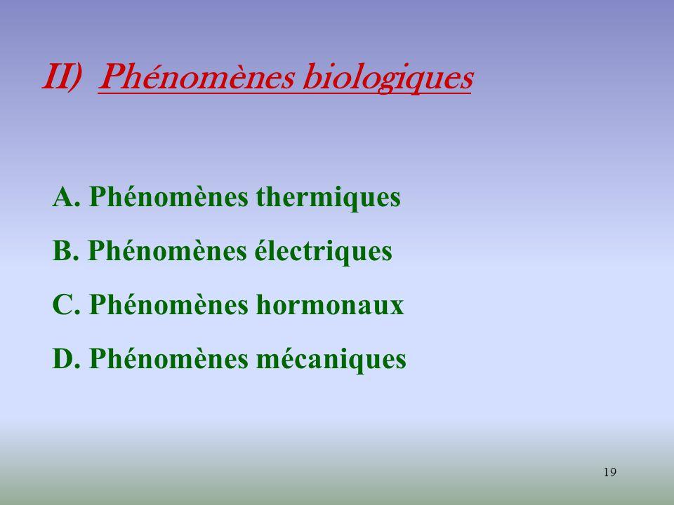 19 II) Phénomènes biologiques A. Phénomènes thermiques B. Phénomènes électriques C. Phénomènes hormonaux D. Phénomènes mécaniques