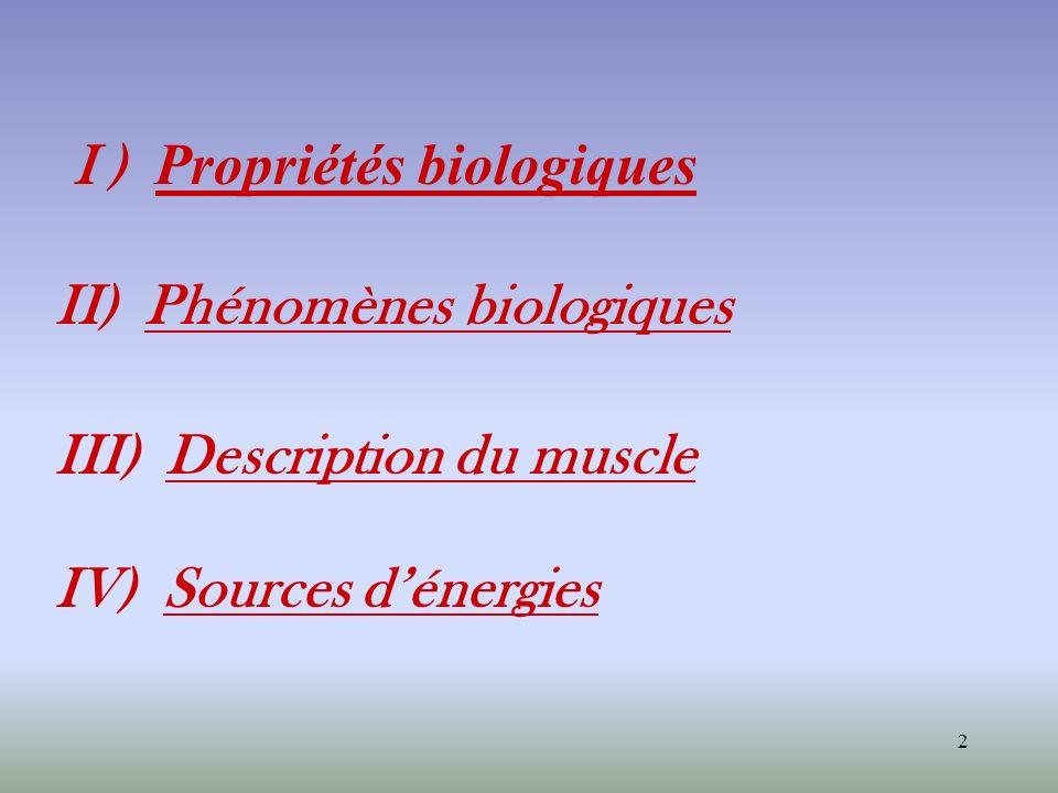 2 I ) Propriétés biologiques II) Phénomènes biologiques III) Description du muscle IV) Sources dénergies